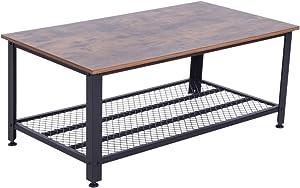 homcom Tavolino da caffè Stile Industriale Gambe in Metallo Piedini Regolabili AntiGraffio Salotto Legno 106 x 60 x 45cm