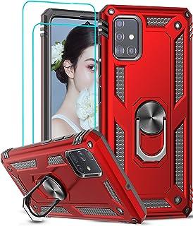 LeYi für Samsung Galaxy A51 4G Hülle mit Panzerglas Schutzfolie(2 Stück),360 Grad Ring Halter Handy Hüllen Cover Bumper Sc...