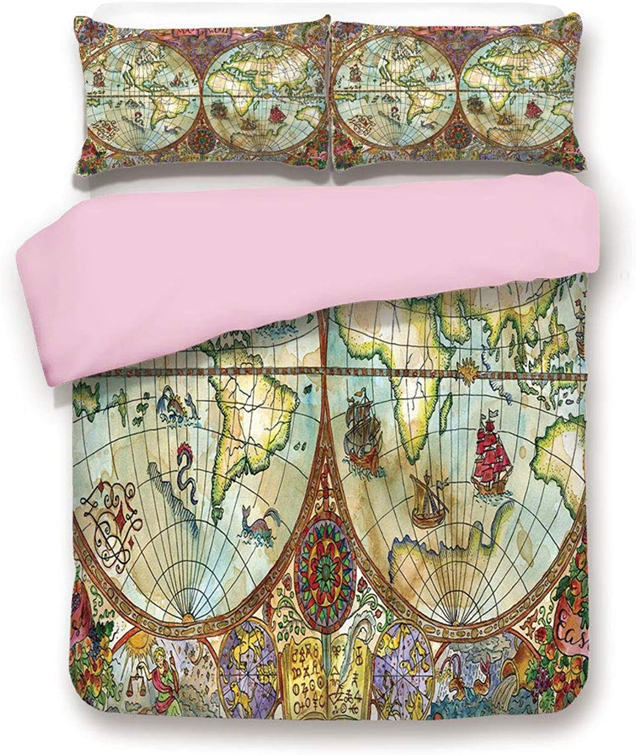 Pink Duvet Cover Set,Twin Size,Vintage Map Antique Drawings ...