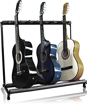 Best Choice Products 7-Guitar Folding Storage Stand Rack for Acoustic, Bass, Electric Guitars w/Padded-Foam Rails