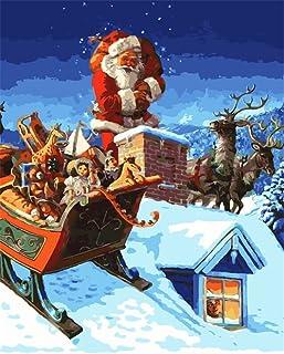 Kit de peinture à l'huile par numéro pour enfants adultes débutants 40,6 x 50,8 cm – Père Noël jouets et élan, dessin avec...