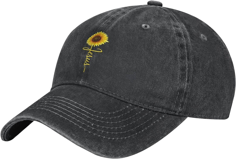 Wisedeal Women's Jesus Sunflower Blessed Hats Washed Vintage Denim Baseball Cap