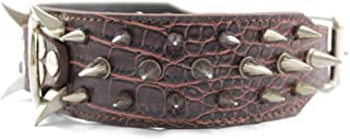 """PQZATX Leather Spiked Studded 2"""" Wide, 25 Spikes 44 Studs, Pit Bull, Boxer-Red L"""