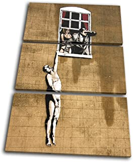 Bold Bloc Design - Banksy Street Window Lovers - 150x100cm Canvas Art Print Box Framed Picture Wall Hanging - Hand Made In The UK - Framed And Ready To Hang