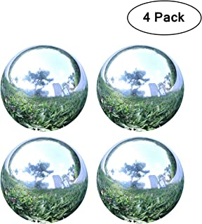 YeahaWo 4 Pack, Home Garden Gazing Globe Mirror Ball in Silver, Hollow Stainless Steel Polished Shiny Sphere (4.7 Inch)