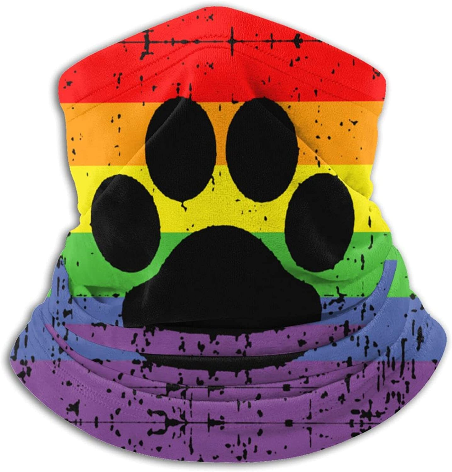 Lgbt gay lesbian furry pawpride rainbow flag unisex winter neck gaiter face cover mask, windproof balaclava scarf for fishing, running & hiking