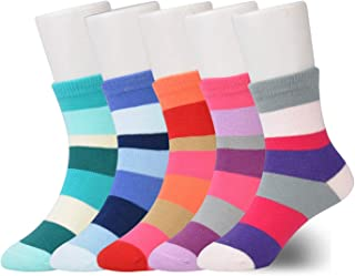 Kids Socks Girls Multipack, Girls Rainbow Socks 1-15 años, Calcetines de algodón para niños, paquete de 5