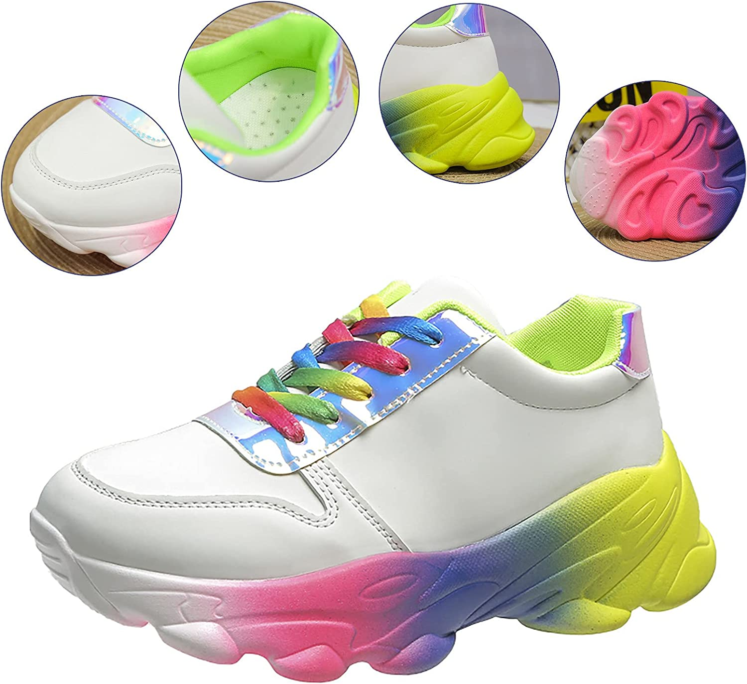 ZiSUGP Women's Fashion Wedge Sneakers White Sneakers Platform Shoes Lace Up Shoes for Ladies Sport Sneakers