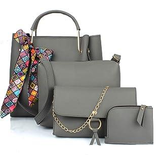 Mammon Women's Grey PU Leather Handbag Combo (4ribn-grey-tie)