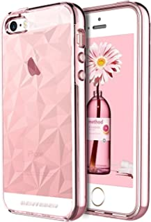 iPhone SE Case, iPhone 5 5S Case, BENTOBEN Crystal Clear Scratch Resistance Shockproof Slim 2 in 1 Hybrid TPU PC Bumper 3D Diamond Visual Protective Phone Cover for iPhone SE 5S 5, Rose Gold