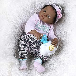 22inch55cm Reborn Baby Dolls African American Full Body Soft Vinyl Silicone Bebe Girl Realistic Anatomically Correct+Curly Black Hair
