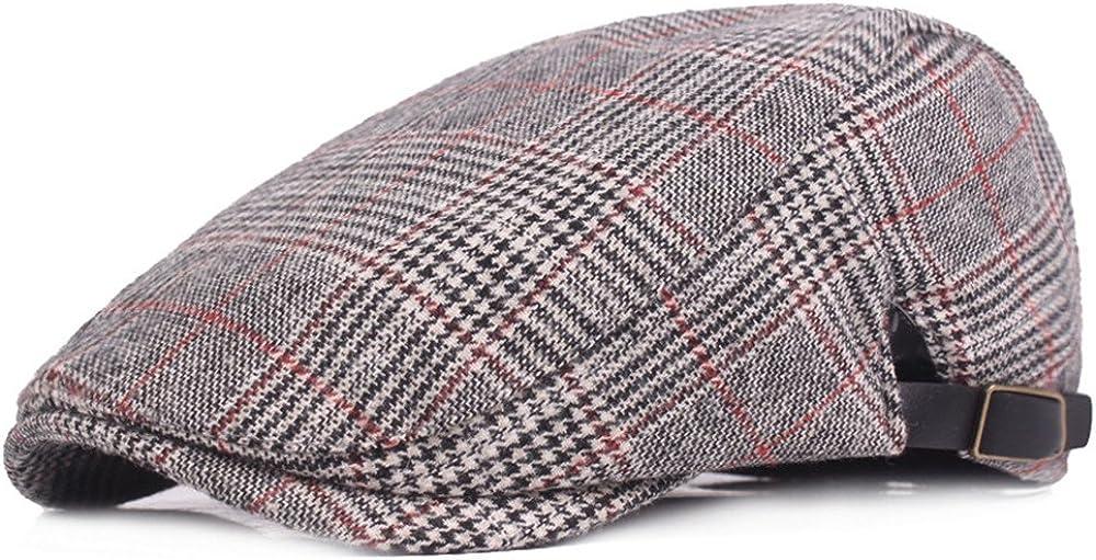 Courier shipping free RICHTOER Newsboy Cap Beret Men Women Caps Flat Hat Plaid Cotton Milwaukee Mall