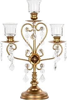 Amalfi Décor Madeleine Vintage Gold Metal Candelabra Centerpiece, 3 Votive Candle Taper Candlestick Holder Accent Stand
