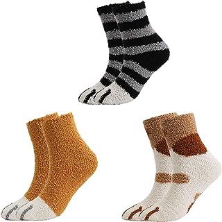 QKURT Calzini pantofole da 3 paia per donna Ragazza, calzini invernali per interni Calzini sfocati soffici per la casa Cal...