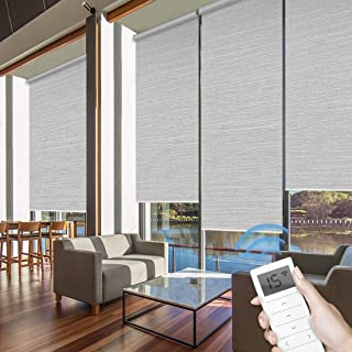 Graywind Motorized Roller Shades 60% Blackout Light Filtering Window Shades Cordless Window Blinds Freestop Roller Blinds with Valance for Smart Home and Office, Customized Size, Jacquard Grey