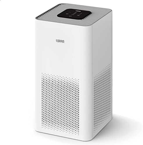 TOPPIN Air Purifiers for Home Allergies Pets Hair in Bedroom, TPAP001 H13 Ture HEPA Filter for 99.97% Smoke, Dust, Po...