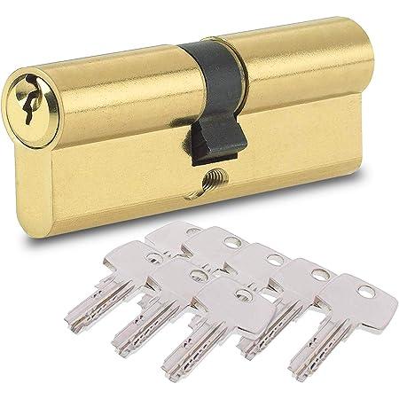 BETOY - Cilindro per porta con pomello serratura con chiave,con chiave, Oro, elemento sostitutivo resistente al trapano, disponibile in ottone e nichel 40/40(80mm)