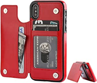iPhone X/XS Case With Wallet,  PU Leather Protective Case with Card Slot Holder, Double Magnetic Clasp and Durable Shockpr...