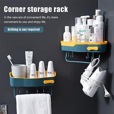 apauls Corner Shower Caddy Double Layer Plastic Shelf 2-Pack, Wall Hanging Soap Dish Storage Organizers Shelf with Waterproof