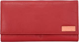 POSHA Genuine Red Leather Wallet for Women and Girls - Gift for Girl, Wife, Girlfriend (RFID Protected)