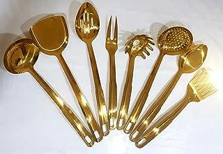 Hi-Range Long Handle Stainless Steel Kitchenware 8 Pieces Kitchen Utensils Set with Titanium Gold Plating Ladle Set spaghe...