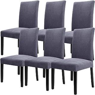 YISUN 4er/6er Set Stretch Kurze Esszimmer Stuhlhussen, Abnehmbare Waschbar Stuhlbezug Stuhl Schutzhülle für Wohnkultur Party Hotel Hochzeitszeremonie-(6-Stück, Grau)