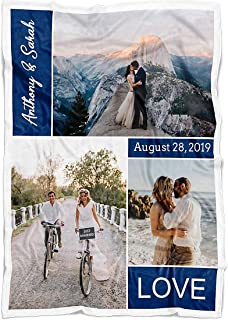 Personalized Throw Blanket 3 Images Collage Full Color. Custom from Your Photos & Family Name. Fleece Blanket Super Soft for Baby & Adult. Love Wedding (3P Navy, Fleece 30
