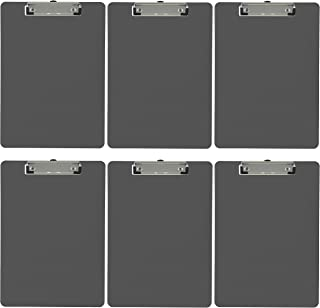 Trade Quest Plastic Clipboard Opaque Color Letter Size Low Profile Clip (Pack of 6) (Gray)