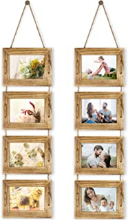 DLQuarts Hanging Picture Photo Frames 4-Frame Collage 5x7 Without Mat & 3.5x5 with Mat, Rustic Wood Carbonized Black 2 Pack