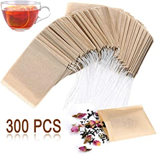 Angooni 300PCS Disposable Tea Filter Bags with Drawstring | 100% Natural & Safe Loose Leaf Tea Empty Tea Bags, 1-Cup Capacity
