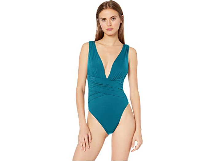 Trina Turk Womens Plunge Wrap Front One Piece Swimsuit