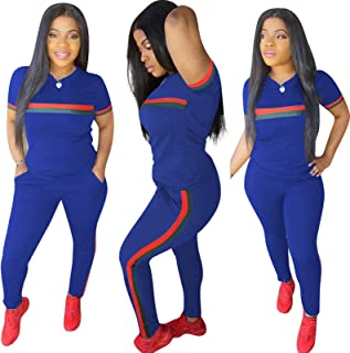 Women's 2 Piece Tracksuit, Outfits T-Shirt Pullover Hoodie Workout Sets Loungewear Sweatsuit Workout Track Suits,Royal Blu...