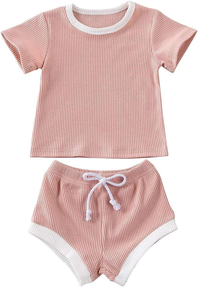 Newborn Toddler Baby Shorts Outfits Basic T-Shirt Top+Drawstring Short Pants Summer Clothing Set