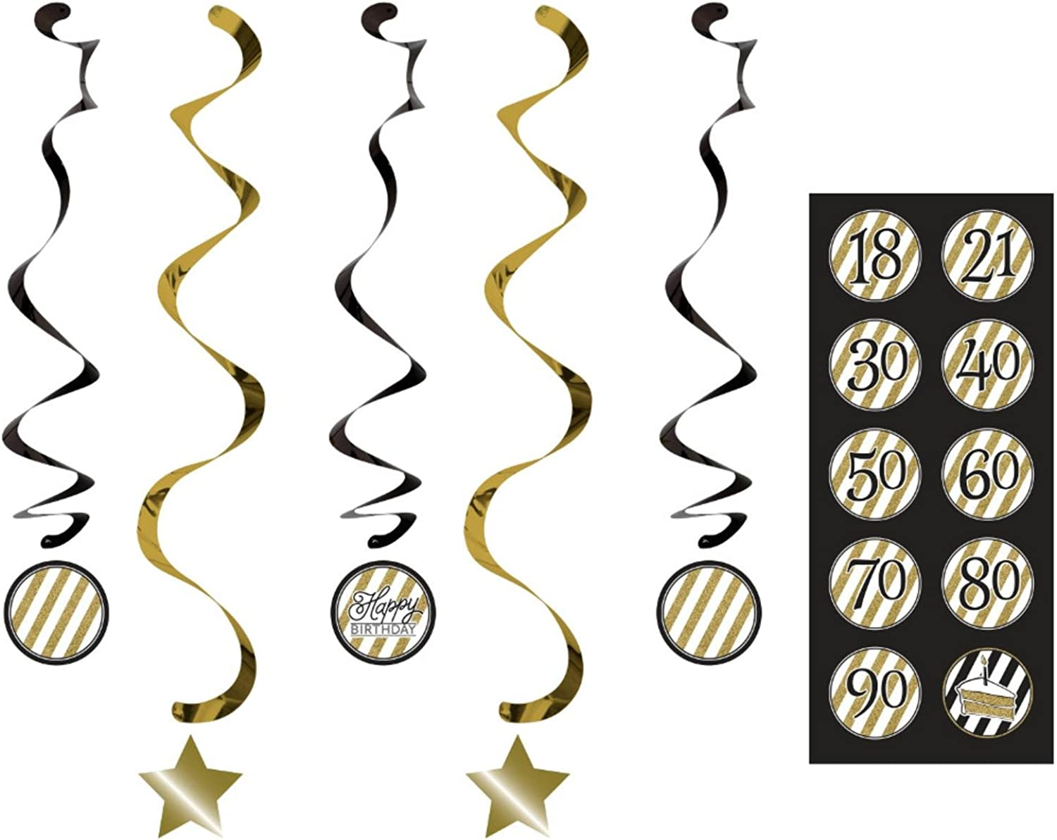 Club Pack of 30 Black & gold Happy Birthday  Dizzy Dangler Hanging Party Decorations Assorted with Stickers