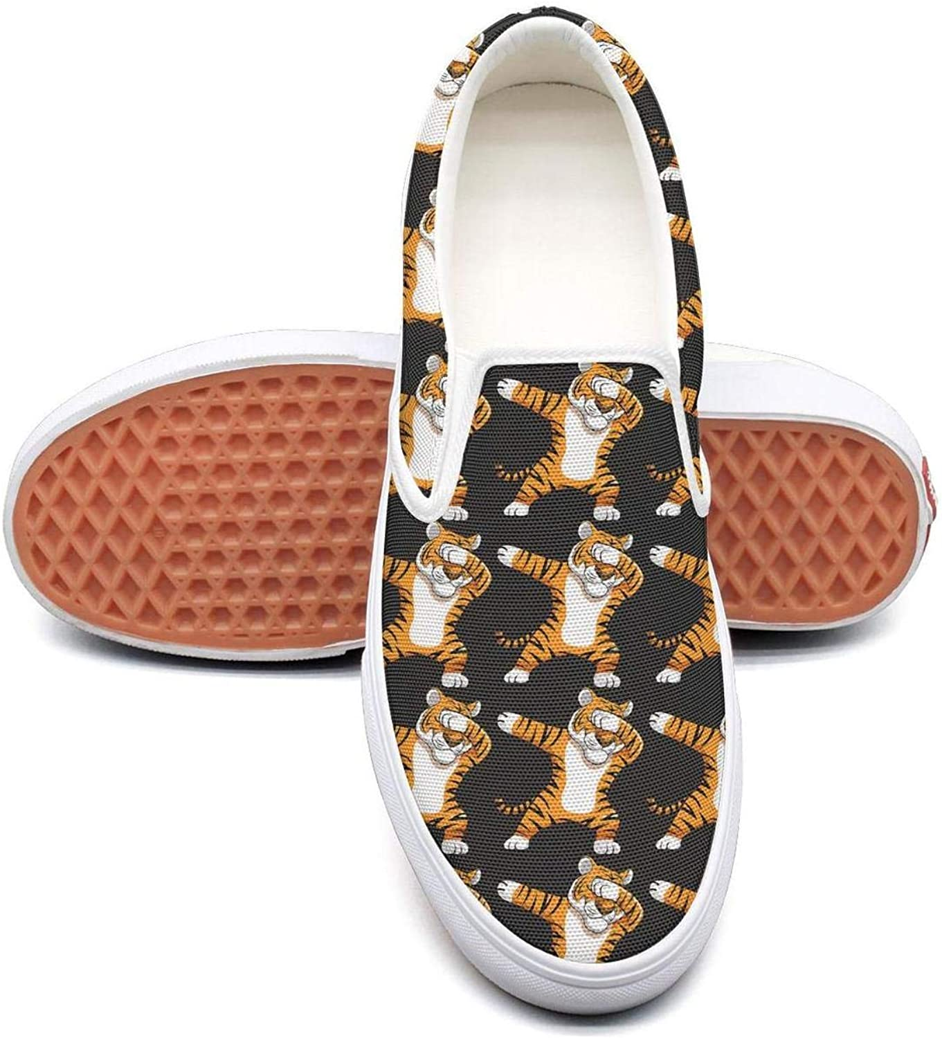 Refyds-es Dabbing Tiger Funny Dab Animals Womens Fashion Slip on Low Top Lightweight Canvas Sneakers