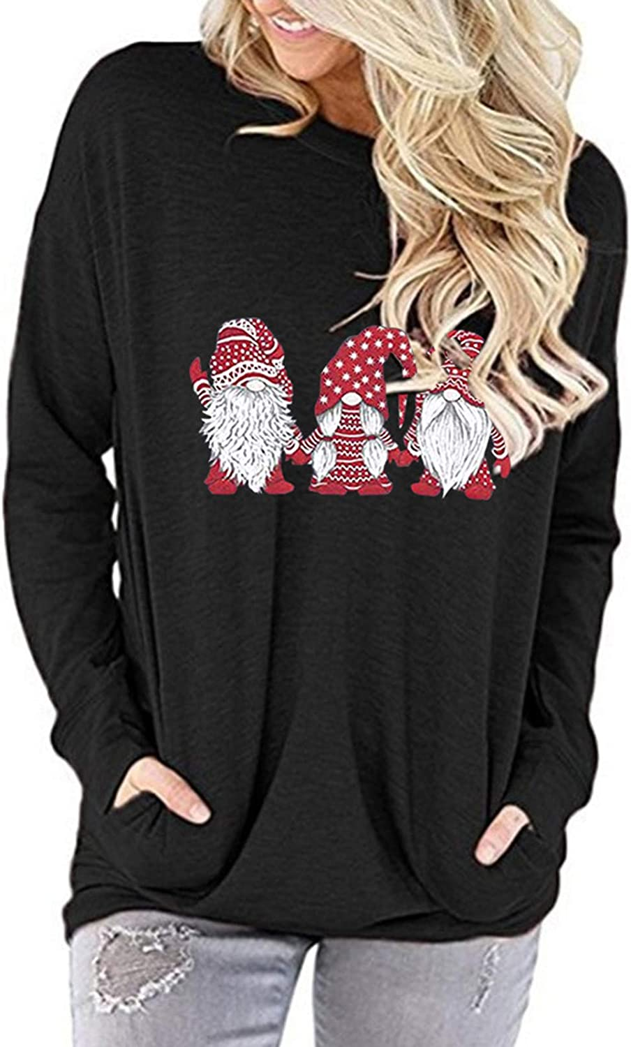 Womens Max 57% OFF Christmas Tops Solid Special price Color Gnome Print Pullover