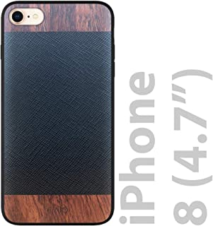 iATO iPhone 8 Designer Case - Black Saffiano Genuine Leather and Real Bois de Rose Wood Premium Protective Back Cover - Unique & Classy Wooden Snap on Bumper for iPhone 8 | Supports Wireless Charging