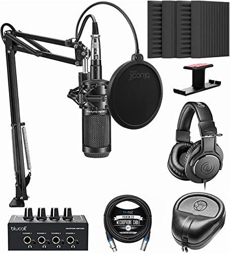 popular Audio-Technica AT2035PK Streaming/Podcasting Pack online sale Bundle with Blucoil 4X 12 Acoustic outlet sale Wedges, Portable Headphone Amp, Aluminum Headphone Hook, Pop Filter, 10' XLR Cable, and Slappa Headphone Case online