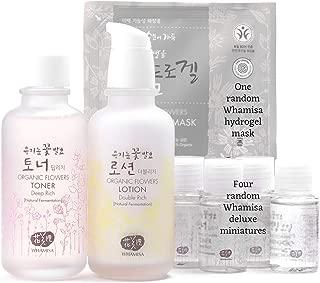 Whamisa Organic Flowers Deep Rich Toner & Double Rich Lotion Skin Care Set + Whamisa Organic Facial Mask & 4 random best miniatures | Best Natural Organic Korean Skin Care