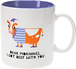 Pavilion Gift Company Dear Mornings, I Got Beef with You-17oz Cow Humorous Bone China Coffee Cup Mug, 17oz, Blue
