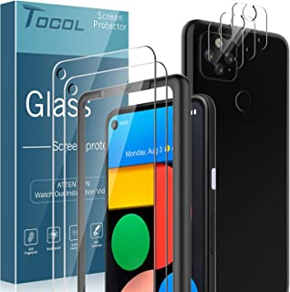 TOCOL 5 Pack Compatible with Google Pixel 4a 5G 6.2 inch, Not for Pixel 4a 4G 5.8 inch - 2 Pack Tempered Glass Screen Prot...