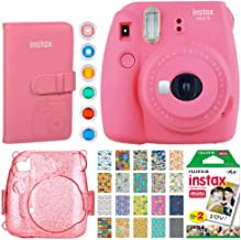 Fujifilm Instax Mini 9 Instant Camera (Flamingo Pink) + Fujifilm Instax Mini Film (20 Exposures) + Fujifilm Wallet Album + Pink Glitter Hard Case + 6 Colored Filters + 20 Sticker Frames Travel Package