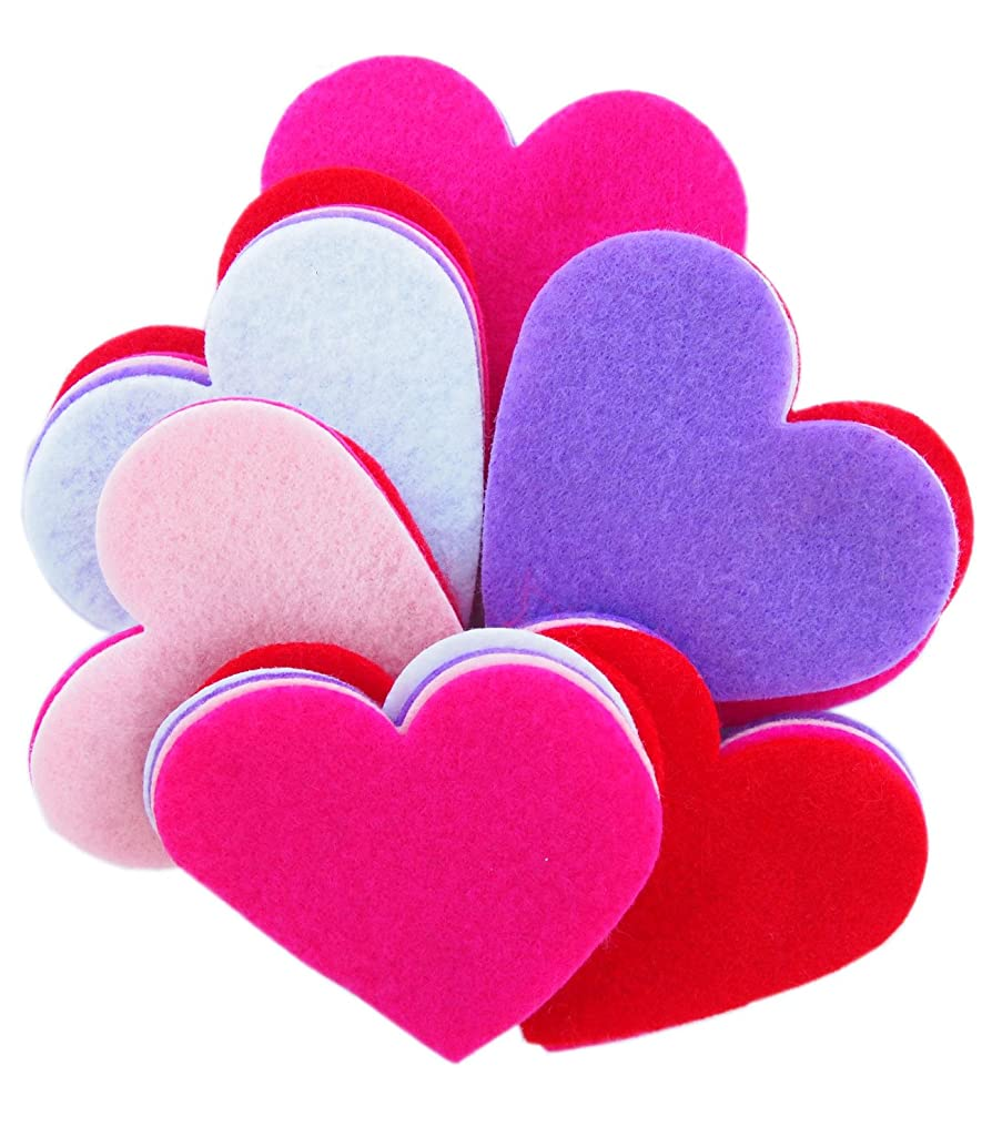 Playfully Ever After 3 Inch 28pc Felt Hearts Color Combo Pack with Pink, Red, White, Light Pink, Purple