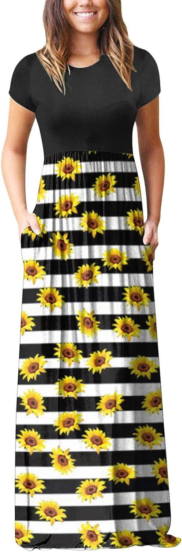 Aniwood Maxi Dresses for Women, Women's Short Sleeve Tie-dye Ruffled Casual Maxi Long Dress with Pockets Beach Sundress