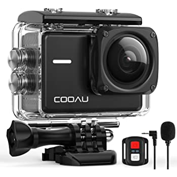 COOAU Action Cam 4K Nativo 60fps 20MP, con WiFi Zoom 8X Nuova Stabilizzatore Elettronica, Custodia Subacquea Impermeabile 40m, Obbiettivo Grandangolare Regolabile, Microfono Esterno 2x1350mAh Batterie