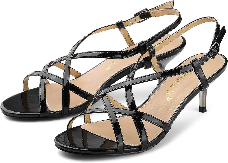 Allegra K Women's Slingback Strappy Kitten Heel Heels Sandals