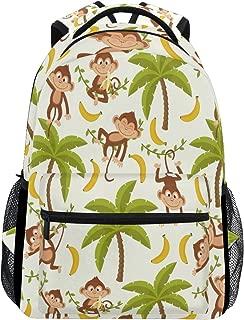 Monkey Pointing Finger School Backpack Waterproof Shoulder Bookbag, Cool Animal Laptop Bag Outdoor Travel Bag Women Men