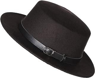 Women's Brim Fedora Wool Flat Top Hat Church Derby Belt Cap