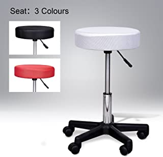 HomCom Swivel Salon Spa Stool with 3 Changeable Seat Covers, Red/White/Black