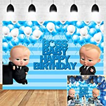 Boss Baby Boy Themed Photo Background Blue Stripe Baby Shower Supplies 1st 2nd Birthday Party Banner Decoration Photography Backdrop Vinyl 5x3ft Cake Table Photo Booth Studio Props